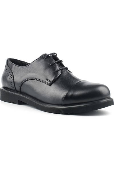 Marine Shoes Kadın Siyah Cilt Deri Ayakkabı