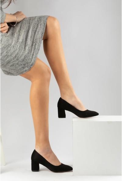 Marine Shoes Kadın Siyah Süet Suni Deri Ayakkabı