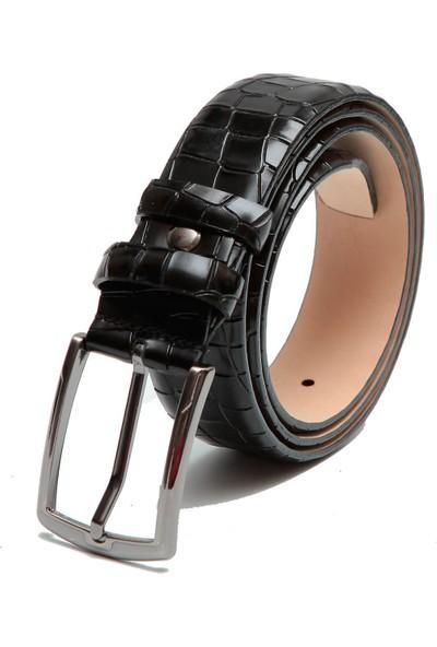 Esgue 3.5 cm Siyah Erkek Baskılı Kemer