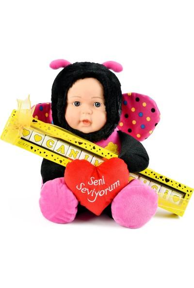 Mabel Canımın Içi Harfli Çikolata Sütlü 135 gr ve 40 cm Pembe Kanatlı Peluş Bebek