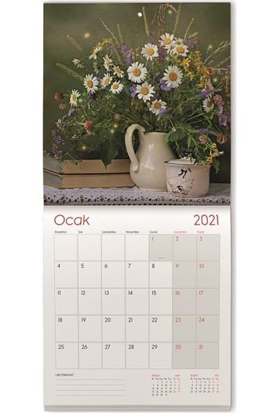 Gıpta 2021 Duvar Takvimi 2931 Tel Dikişli - Kuşe Duvar Takvimi 29 x 31 cm Çiçekler