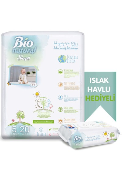 Sleepy Bio Natural Bebek Bezi 5 Numara Junior 20 Adet + Bio Natural Islak Havlu Hediyeli