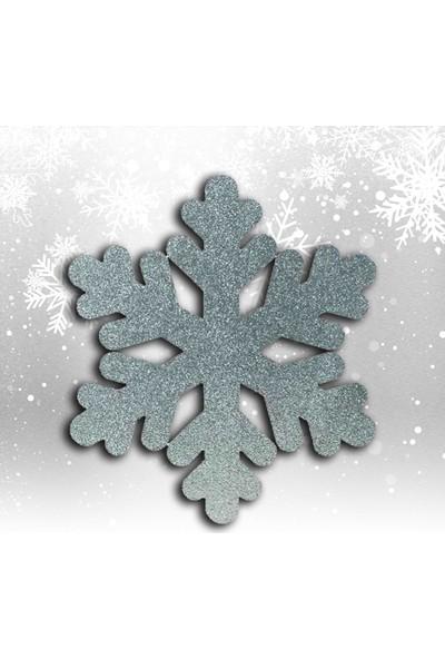 Süsle Bebek Parti Yılbaşı Kar Tanesi Dekor Strafor Süs, 25 cm - Gümüş