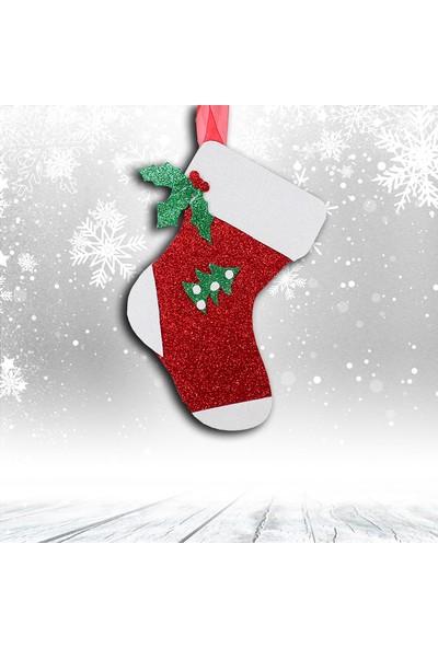 Süsle Bebek Parti Yılbaşı Simli Çorap Süs - 26 cm x 12 Cm, Kırmızı - Beyaz