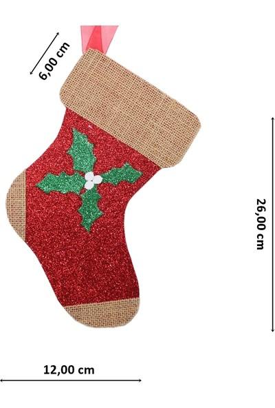 Süsle Bebek Parti Yılbaşı Simli Çorap Süs - 26 cm x 12 Cm, Kırmızı - Jüt