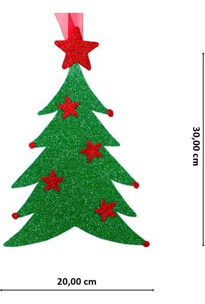 Süsle Bebek Parti Yılbaşı Simli Çam Ağaç Süs - 30 cm x 20 cm