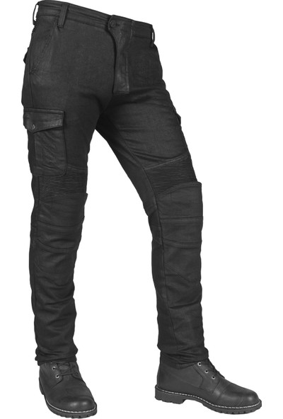 Black İron Fleksi Mod Korumalı Motosiklet Kot Pantolonu