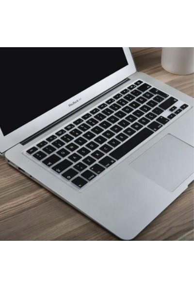 """Kızılkaya Apple Macbook Air Pro Retina 13"""" 15"""" 17"""" Türkçe Q Klavye Koruyucu Silikonlu Kılıf Türkçe Baskı Siyah"""
