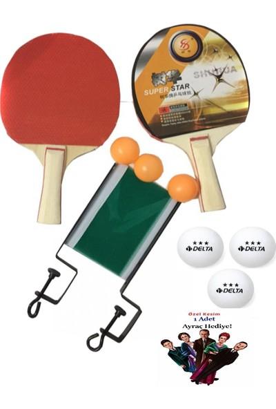 Hece Masa Tenisi Seti - 2 Raketi + 3 Pinpon Topu + File +3 Adet Delta Pinpon Topu +Öxel Kesim Kitap Ayracı