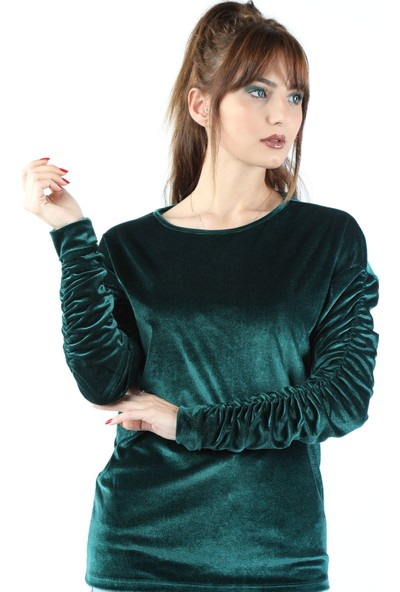 Balins Kol Büzgülü Kadife Bluz Yeşil