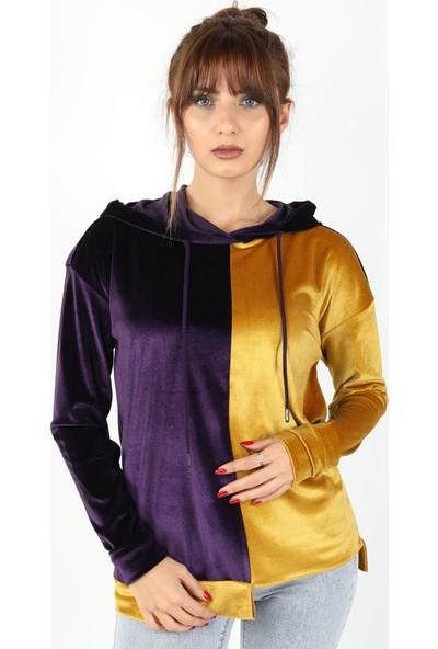 Balins Çift Renkli Kapüşonlu Kadife Bluz Sarı-Mor