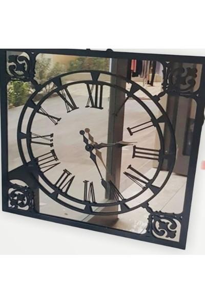 Perim Decor Tales Carbon Kare 50 cm Bronz Aynalı Siyah Duvar Saati