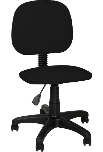 Tomar Kolsuz Bilgisayar Sekreter ve Çalışma Sandalyesi Ofis Taburesi - Siyah