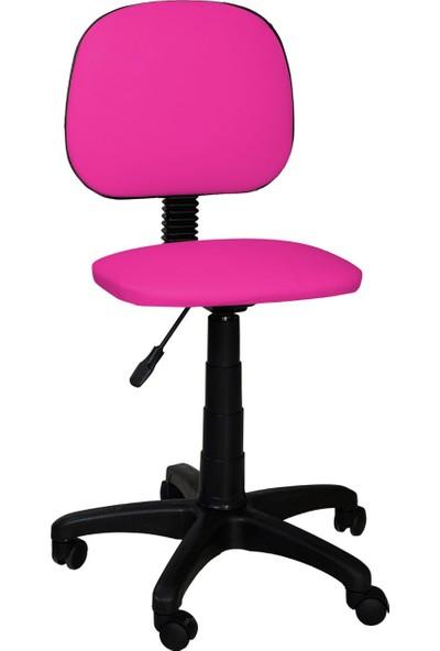 Tomar Kolsuz Bilgisayar Sekreter ve Çalışma Sandalyesi Ofis Taburesi - Pembe