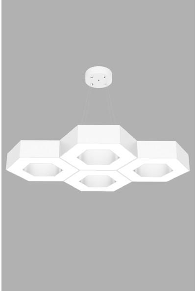 Hegza Lighting Stella (Beyaz Kasa, Sarı Işık) Ledli Modern Avize