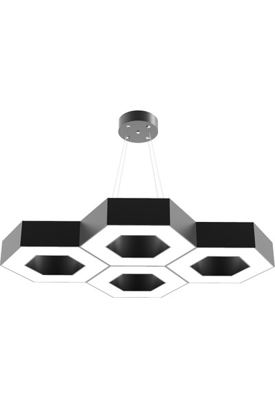 Hegza Lighting Stella (Siyah Kasa, Sarı Işık) Ledli Modern Avize