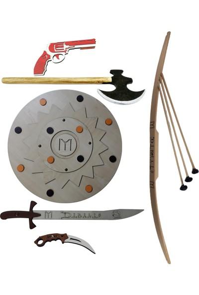 Ahtek Ahşap Oyuncak Seti 6'lı - Kalkan + Balta + Kılıç + Bıçak + Ok Yay + Lastik Atan Tabanca