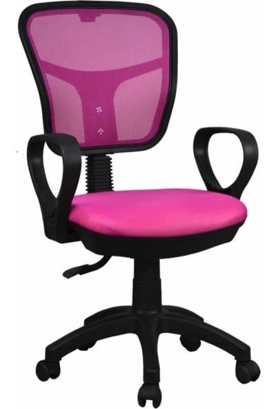 Tomar Kollu Fileli Personel Koltuğu Ofis Koltukları Bilgisayar Koltuğu Sekreter Sandalyesi - Pembe