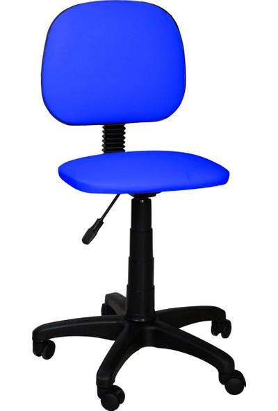 Tomar Kolsuz Bilgisayar Sekreter ve Çalışma Sandalyesi Ofis Taburesi - Mavi