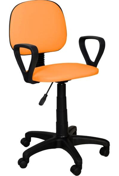 Tomar Kollu Bilgisayar Sekreter ve Çalışma Sandalyesi Ofis Taburesi - Turuncu