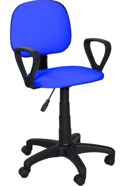Tomar Kollu Bilgisayar Sekreter ve Çalışma Sandalyesi Ofis Taburesi - Mavi