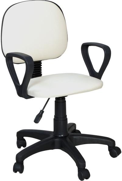 Tomar Kollu Bilgisayar Sekreter ve Çalışma Sandalyesi - Beyaz