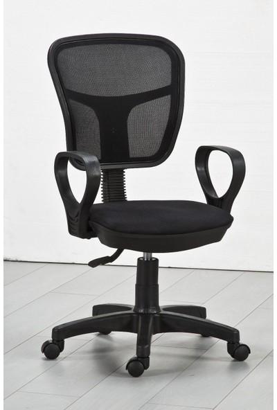 Tomar Kollu Fileli Personel Koltuğu Ofis Koltukları Bilgisayar Koltuğu Sekreter Sandalyesi - Siyah