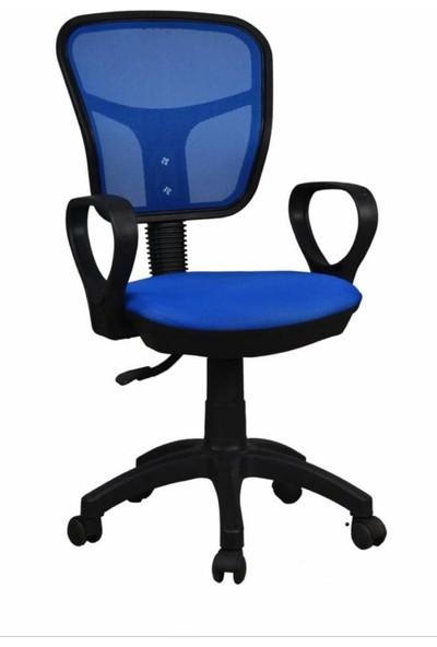 Tomar Kollu Fileli Personel Koltuğu Ofis Koltukları Bilgisayar Koltuğu Sekreter Sandalyesi - Mavi