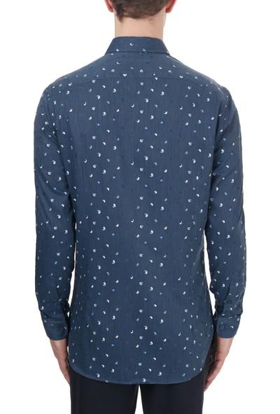 Etro % 100 Pamuklu Düğmeli Yaka Slim Fit Gömlek Erkek Gömlek 1K964 3005 0200 Lacivert 40