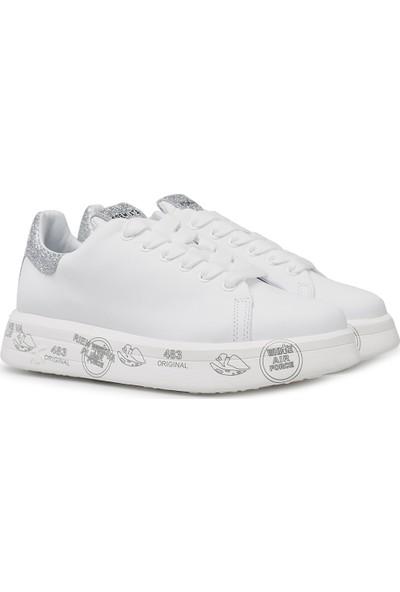 Premiata Baskılı Kalın Taban Deri Ayakkabı Kadın Ayakkabı Belle 4903 Beyaz 37