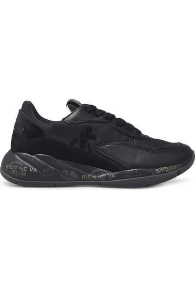 Premiata Baskılı Kalın Taban Deri Ayakkabı Kadın Ayakkabı Scarlett 4848 Siyah 39