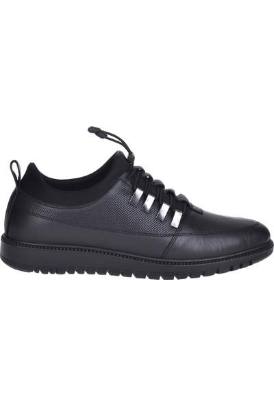 Balayk 296 Siyah %100 Deri Erkek Sneakers Spor Ayakkabı