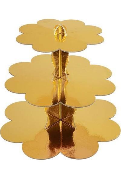Bkr Kek Standı 3 Katlı Karton Cupcake Standı Gold