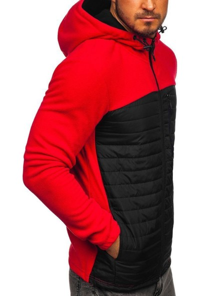 Efeel Redzip Polar Ceket Kapüşonlu Mont Önü Siyah Kapitoneli Kırmızı Spor Desenli Gögüs Cepli
