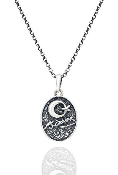 Brs Silver 925 Ayar Kemal Atatürk Motifi Gümüş Kolye