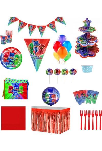 İzmir Party Store Pijamaskeliler 8 Kişilik Lüks Doğum Günü Seti