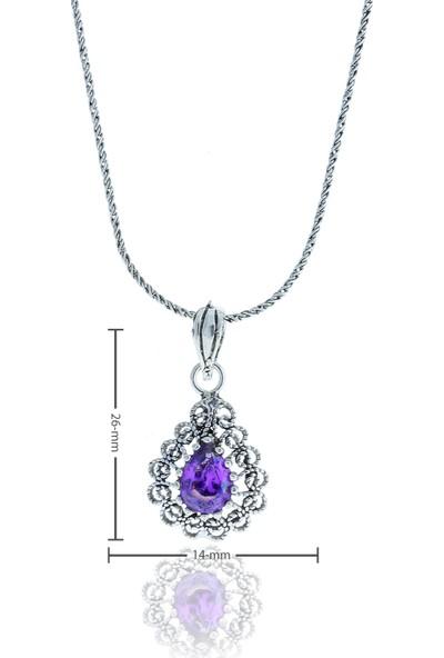 Midyat Nurtaş Gümüş Ametist Taşlı Damla Model Oksitli Telkari Gümüş Kolye