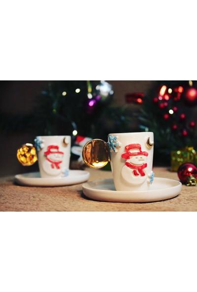 Kardan Adam Tasarım Gold 2 Li Seramik Kahve Fincanı
