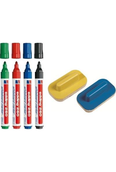 Edding 260 Silinebilir Yazı Tahtası Kalemi 4'lü + 2'li Tahta Silgisi