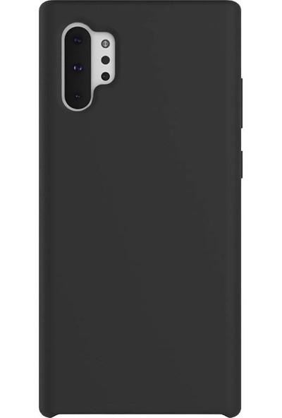Magazabu Samsung Galaxy Note 10 Plus Kılıf Liquid Süet Silikon + Cam Ekran Koruyucu Siyah