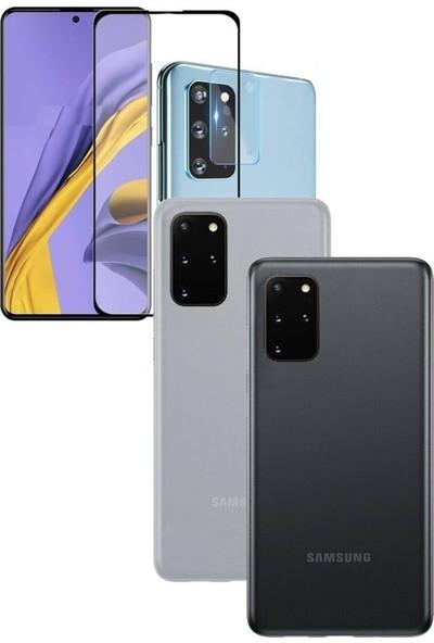 Magazabu Samsung Galaxy S20 Plus Kılıf 04MM Ince Hayalet + Tam Kaplayan Ekran Koruyucu + Kamera Koruyucu Siyah