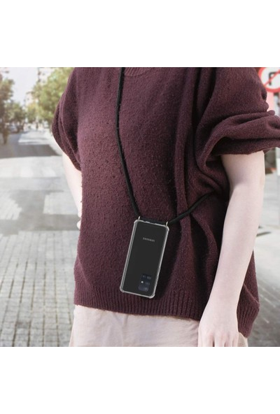 Magazabu Samsung Galaxy S20 Plus Kılıf Silikon Şeffaf Askılı Ayarlanabilir Boyunluk Askısı Siyah