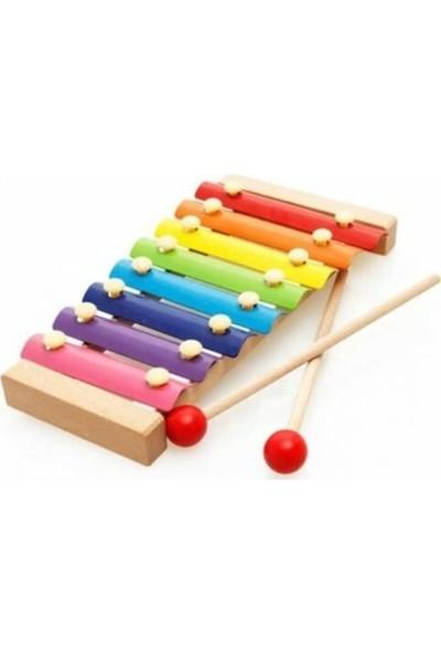 Sinka Eğitici Ahşap Ksilofon 8 Nota 8 Ton 8 Tuşlu Sesli Selefon Oyuncak