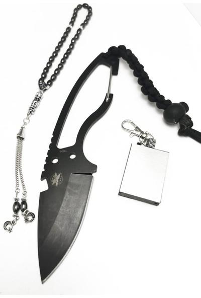 Dpx Gear 20 cm Siyah Ipli Çelik Av Kamp Çakısı Hediyeli