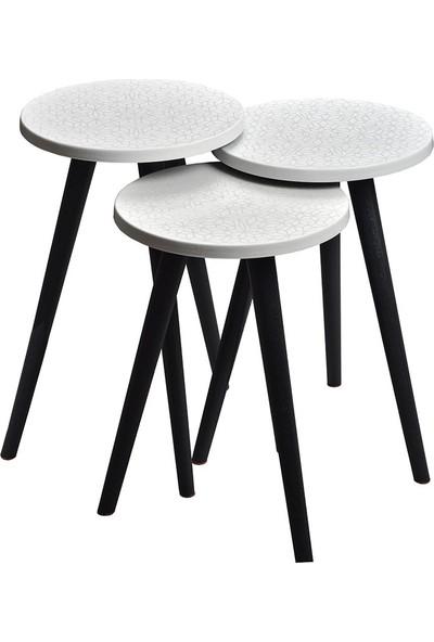 Dorcia Home 3lü Renkli Desenli Zigon Sehpa Beyaz Siyah