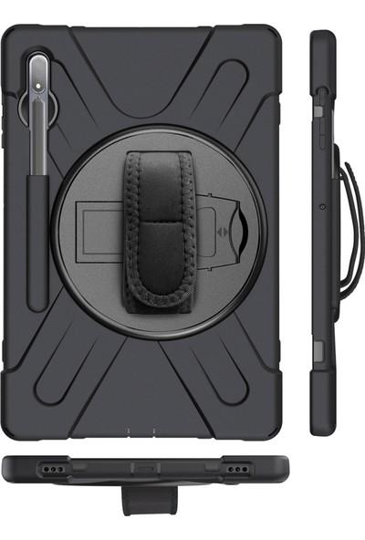Hesaplı Dünya Samsung Galaxy Tab S7 T870 11 Inç Kılıf Omuz Askılı Standlı Tam Koruyucu