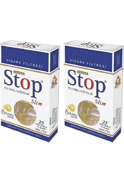 Stop Slim Filtreli Ağızlık Ince Sigara Filtresi 25'li 2 Paket