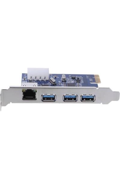 Alfais 4480 Pci-E Express USB 3.0 Ethernet Kart 3 Port Kasa Içi Çoklayıcı