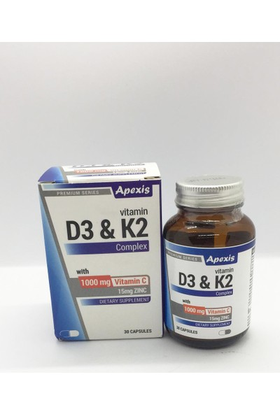 Apexis D3K2 C Vitamini 1000 mg + Zinc 30 Kapsül