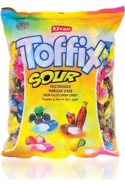 Elvan Toffix Sour Mix Şeker 1000 gr